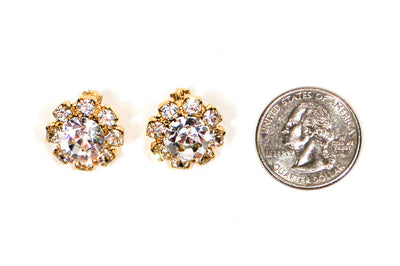 1960's Round Rhinestone Earrings, Earrings - Vintage Meet Modern