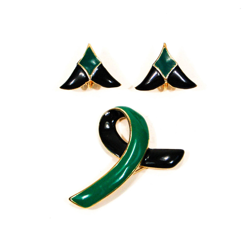 1950's Black and Green Brooch and Earrings Set, Jewelry Sets - Vintage Meet Modern