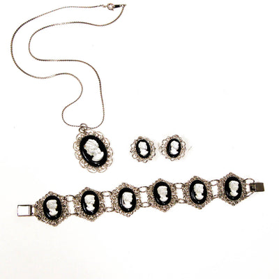 1950's Silver Tone Cameo Necklace,Bracelet, and Earrings Set by 1950's - Vintage Meet Modern - Chicago, Illinois