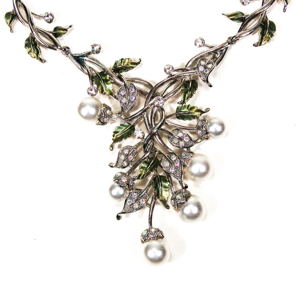 Floral Pearl and Rhinestone Bib Necklace by Adrienne - Vintage Meet Modern  - 1