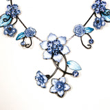 Floral Statement Necklace with Blue Rhinestones by Adrienne, Necklaces - Vintage Meet Modern