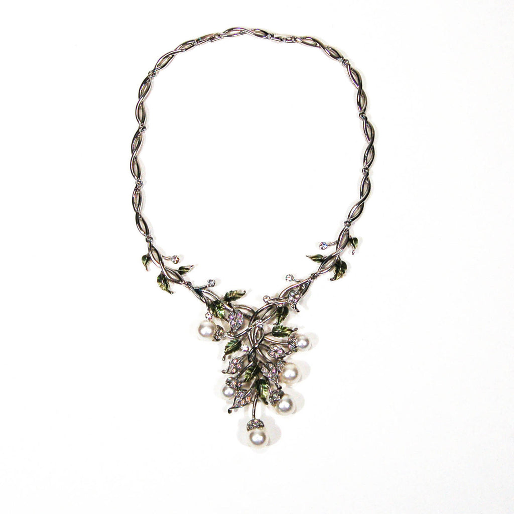 Floral Pearl and Rhinestone Bib Necklace by Adrienne - Vintage Meet Modern  - 2
