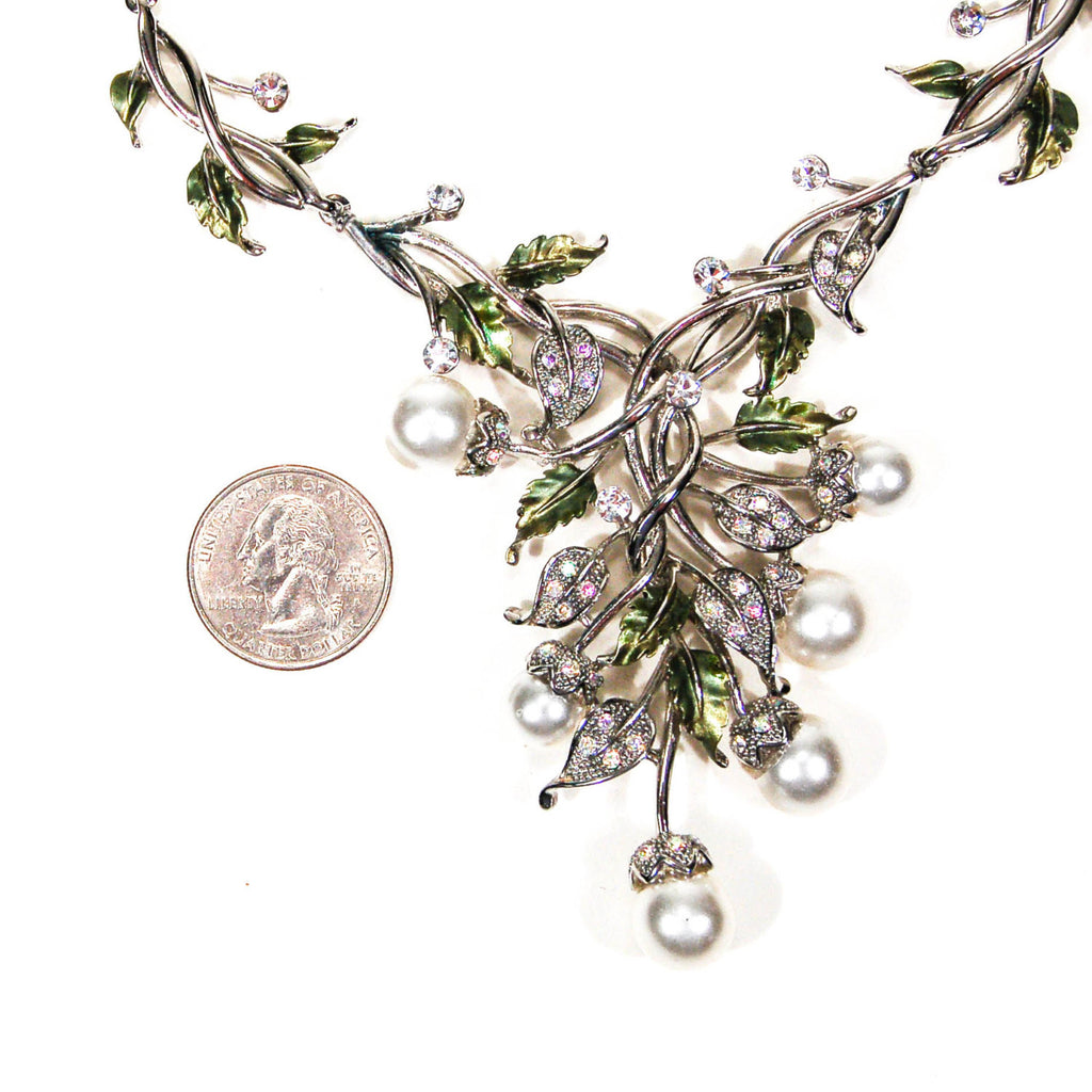Floral Pearl and Rhinestone Bib Necklace by Adrienne - Vintage Meet Modern  - 3