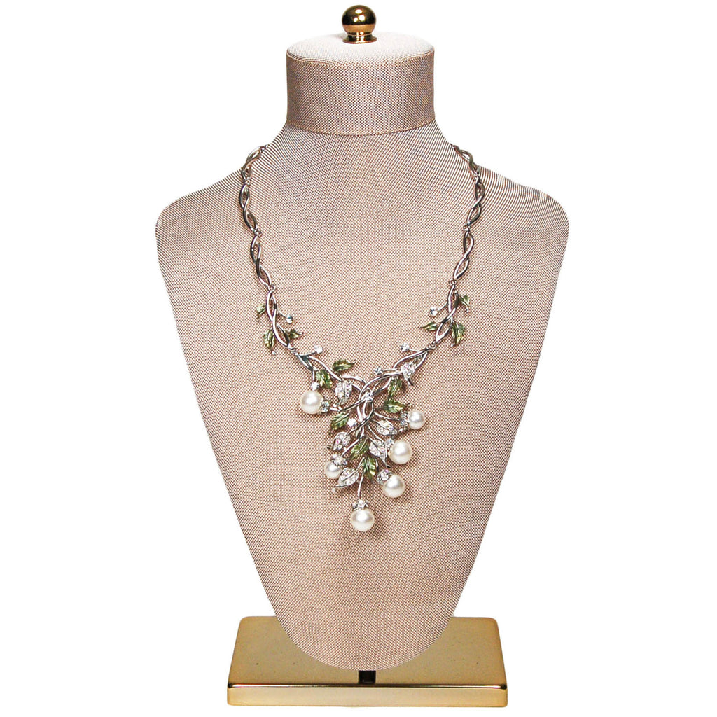 Floral Pearl and Rhinestone Bib Necklace by Adrienne - Vintage Meet Modern  - 4
