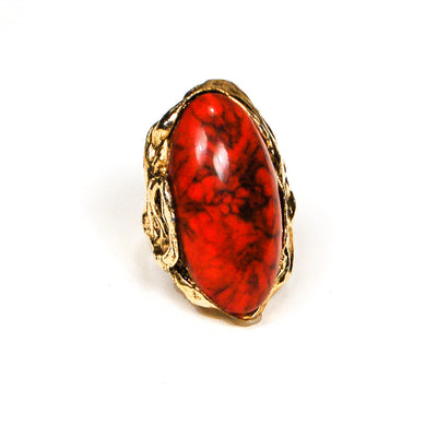 Adjustable Faux Coral Red Statement Ring by 1960s Vintage - Vintage Meet Modern - Chicago, Illinois