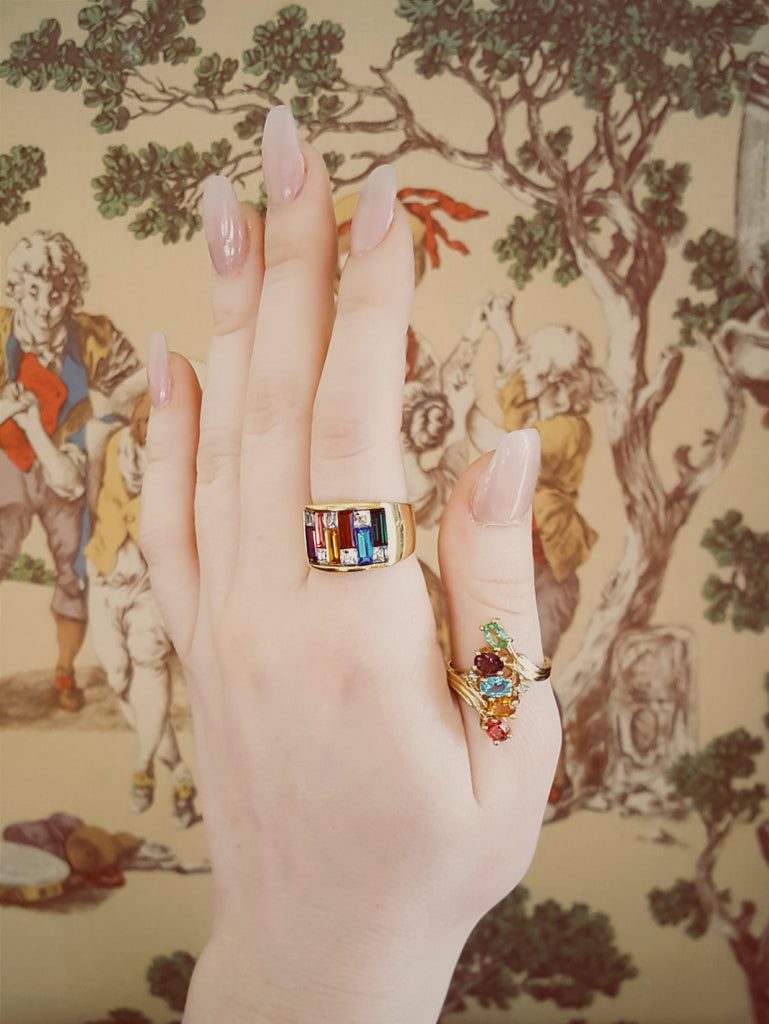1980's Rainbow Rhinestone Band Ring, rings - Vintage Meet Modern