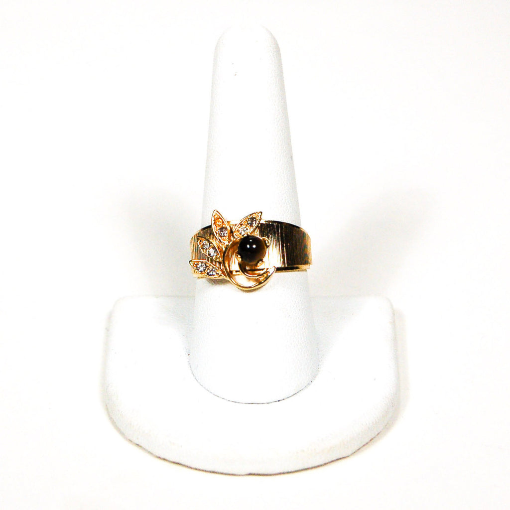 1960's Gold Floral Ring with Rhinestone and Tigers Eye, rings - Vintage Meet Modern
