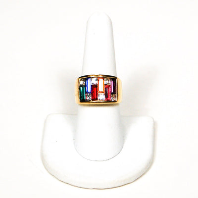 1980's Rainbow Rhinestone Band Ring by 1980s - Vintage Meet Modern Vintage Jewelry - Chicago, Illinois - #oldhollywoodglamour #vintagemeetmodern #designervintage #jewelrybox #antiquejewelry #vintagejewelry