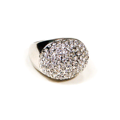 Silver Tone Dome Statement Ring with Pave Rhinestones by 1980s - Vintage Meet Modern - Chicago, Illinois
