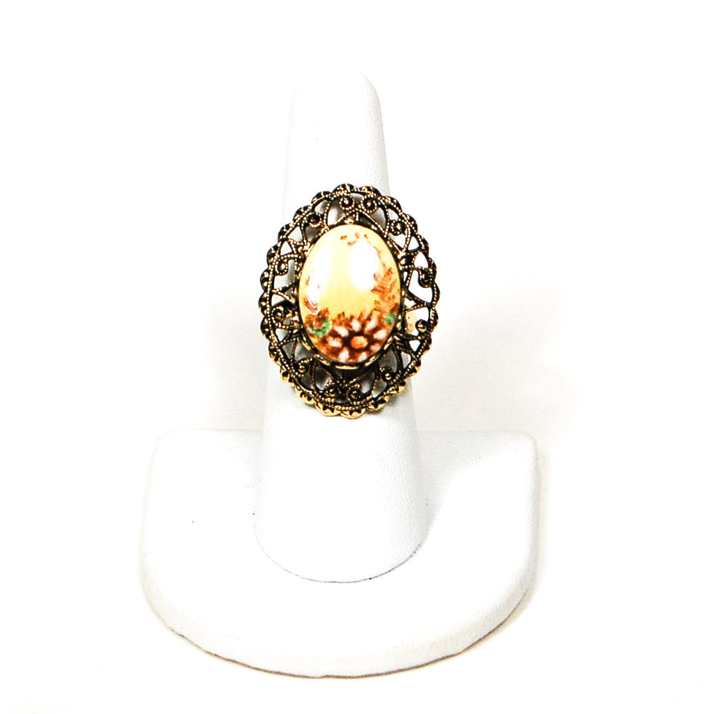Adjustable Filigree Painted Daisy Flower Ring, rings - Vintage Meet Modern
