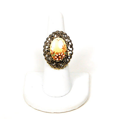 Adjustable Filigree Painted Daisy Flower Ring by 1950's - Vintage Meet Modern Vintage Jewelry - Chicago, Illinois - #oldhollywoodglamour #vintagemeetmodern #designervintage #jewelrybox #antiquejewelry #vintagejewelry
