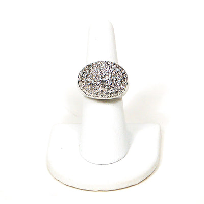 Silver Tone Dome Statement Ring with Pave Rhinestones, rings - Vintage Meet Modern