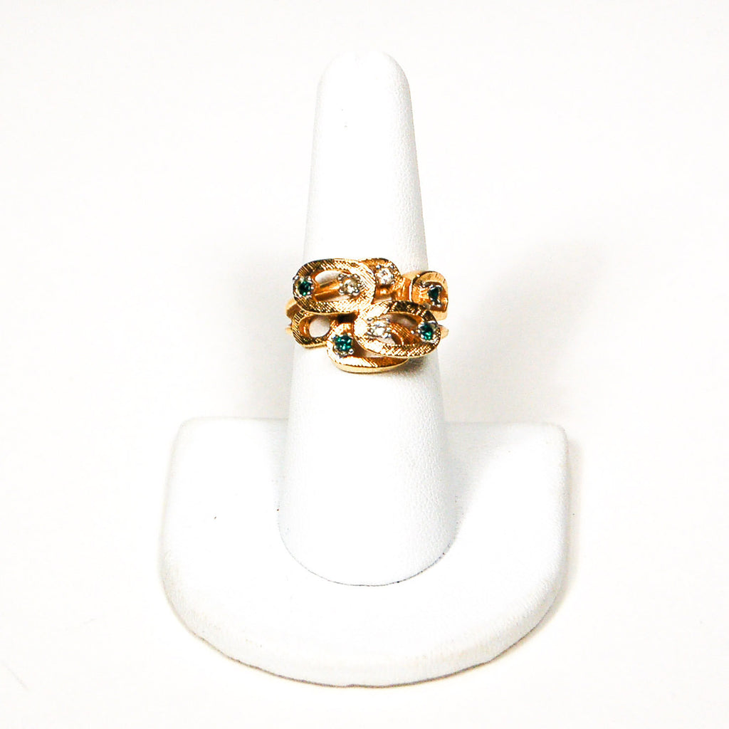 1950's Geometric Emerald Green and Rhinestone Ring, rings - Vintage Meet Modern