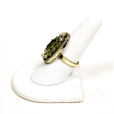 1960's Pearl and Green Crystal Statement Ring by 1960s Vintage - Vintage Meet Modern Vintage Jewelry - Chicago, Illinois - #oldhollywoodglamour #vintagemeetmodern #designervintage #jewelrybox #antiquejewelry #vintagejewelry
