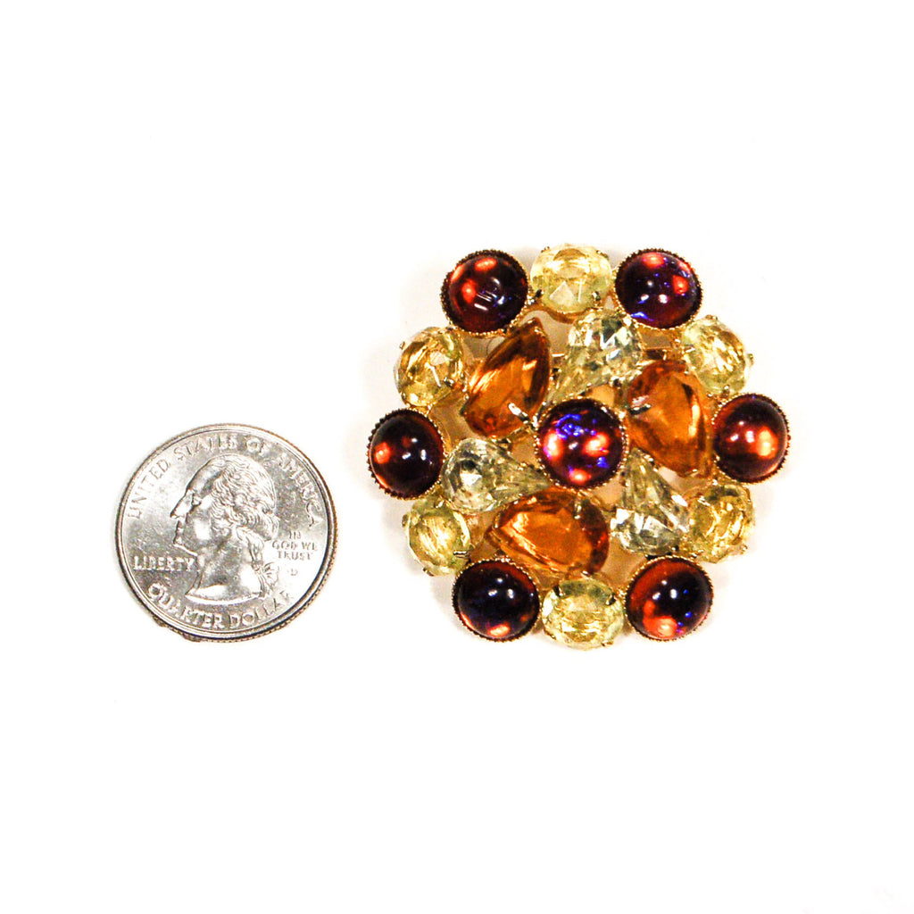 1960's Autumn Colored Rhinestone Brooch, Brooches - Vintage Meet Modern