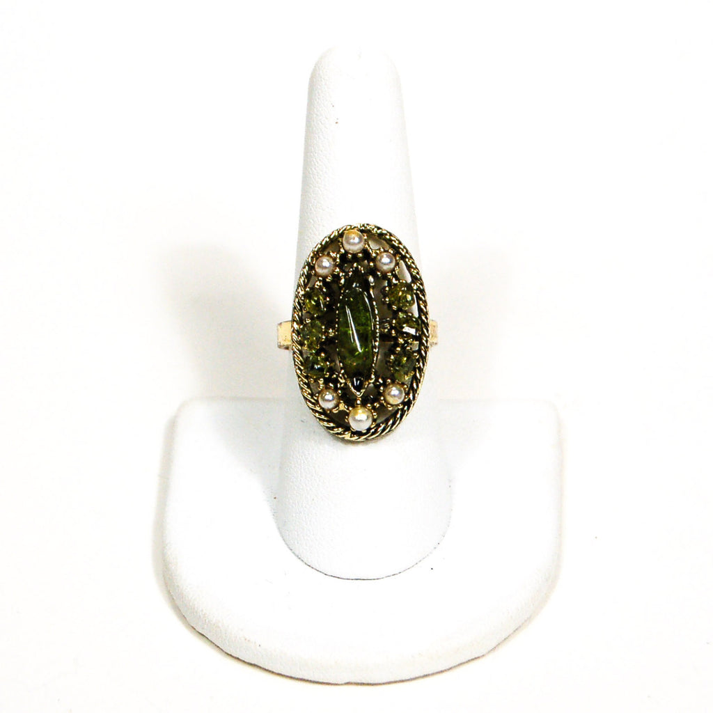 1960's Pearl and Green Crystal Statement Ring, rings - Vintage Meet Modern