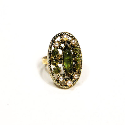 1960's Pearl and Green Crystal Statement Ring by 1960s Vintage - Vintage Meet Modern - Chicago, Illinois