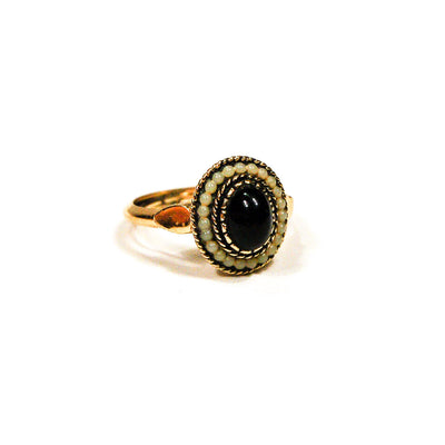 Avon Black Onyx Faux Pearl Ring, rings - Vintage Meet Modern