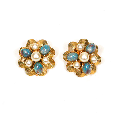 Blue, and Gold Diamante Rhinestone Star Earrings