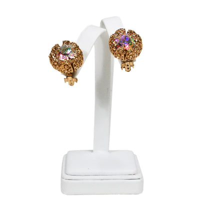 Rhinestone Aurora Borealis Earrings by Judy Lee by Judy Lee - Vintage Meet Modern Vintage Jewelry - Chicago, Illinois - #oldhollywoodglamour #vintagemeetmodern #designervintage #jewelrybox #antiquejewelry #vintagejewelry