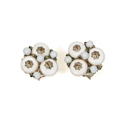 Miriam Haskell White Milk Glass and Silver Filigree Earrings by Miriam Haskell - Vintage Meet Modern Vintage Jewelry - Chicago, Illinois - #oldhollywoodglamour #vintagemeetmodern #designervintage #jewelrybox #antiquejewelry #vintagejewelry
