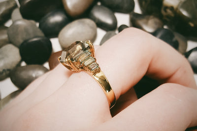 Smokey Topaz, CZ Cocktail Statement Ring by Unsigned Beauty - Vintage Meet Modern - Chicago, Illinois