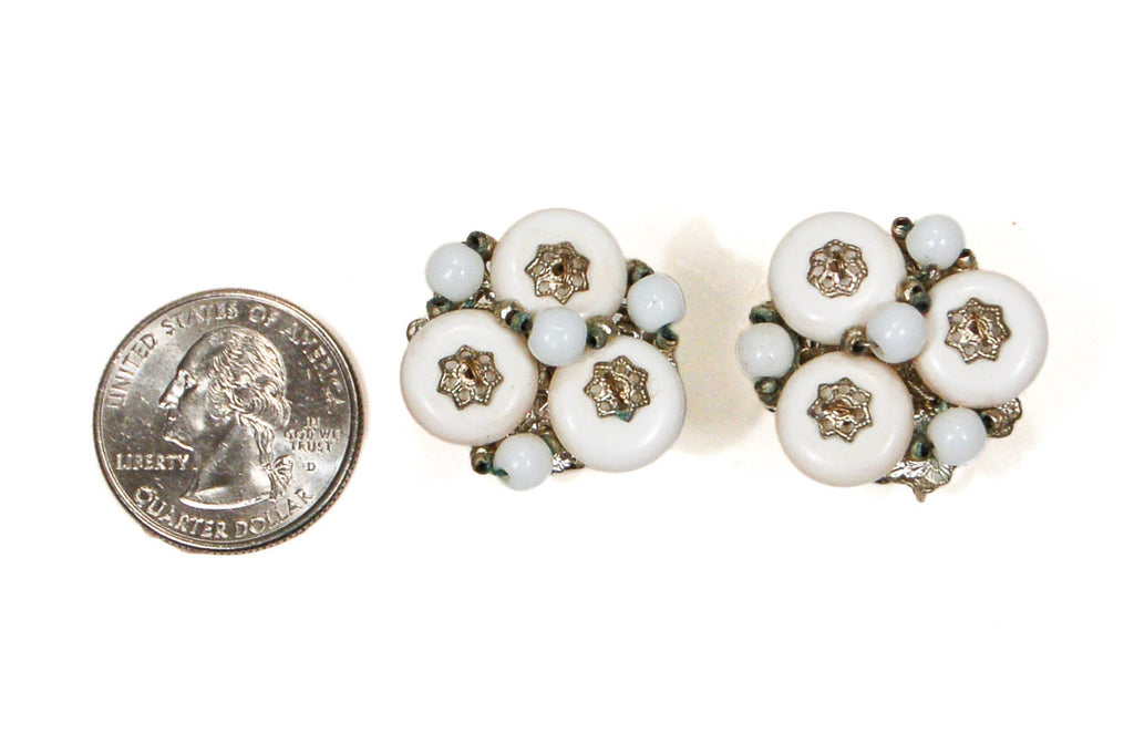 Miriam Haskell White Milk Glass and Silver Filigree Earrings - Vintage Meet Modern  - 3
