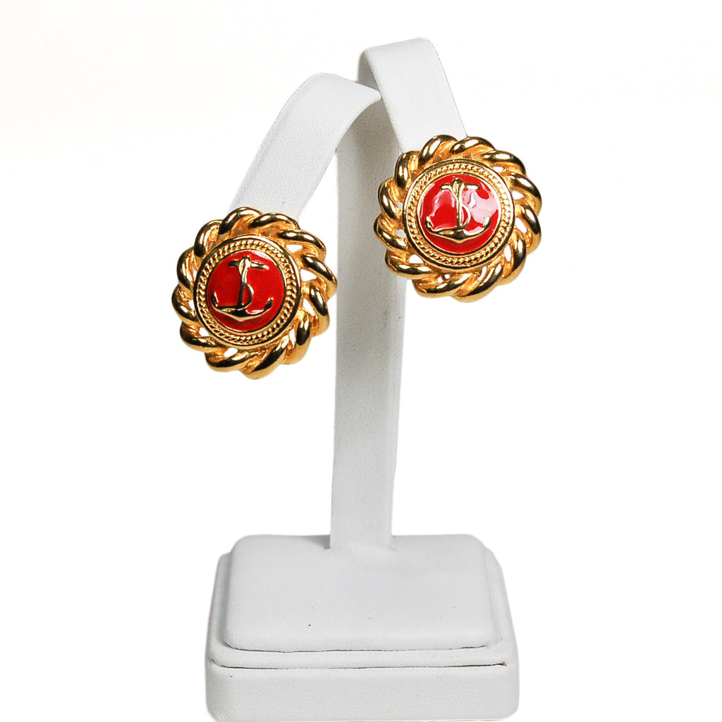 Gold and Red Anchor Earrings - Vintage Meet Modern  - 2
