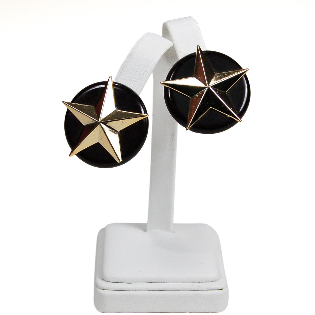 Black and Gold Star Earrings, Earrings - Vintage Meet Modern