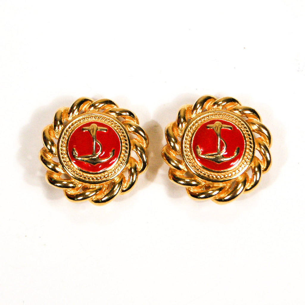 Gold and Red Anchor Earrings - Vintage Meet Modern  - 1