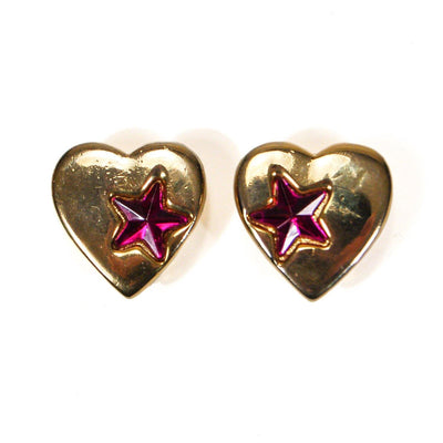 Gold Heart Purple Star Earrings by 1980s - Vintage Meet Modern Vintage Jewelry - Chicago, Illinois - #oldhollywoodglamour #vintagemeetmodern #designervintage #jewelrybox #antiquejewelry #vintagejewelry