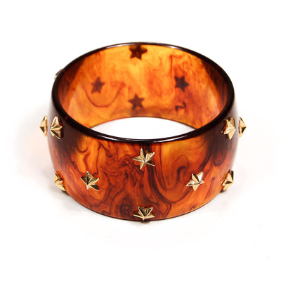 Faux Tortoise Lucite Bangle Bracelet with Stars by Unsigned Beauty - Vintage Meet Modern Vintage Jewelry - Chicago, Illinois - #oldhollywoodglamour #vintagemeetmodern #designervintage #jewelrybox #antiquejewelry #vintagejewelry