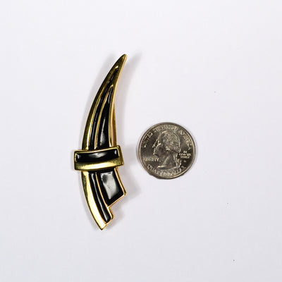 Black and Gold Crest Brooch by Monet, Brooch - Vintage Meet Modern