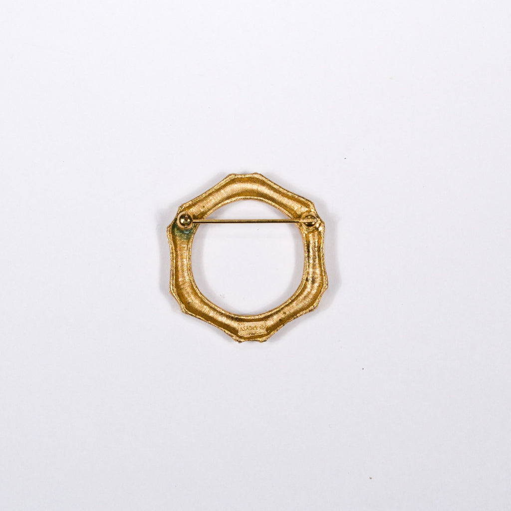 Gold Tone Bamboo Wreath Brooch by Avon - Vintage Meet Modern  - 3