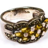 Art Deco Inspired Yellow Citrine and Marcasite Ring set in Sterling Silver, Ring - Vintage Meet Modern