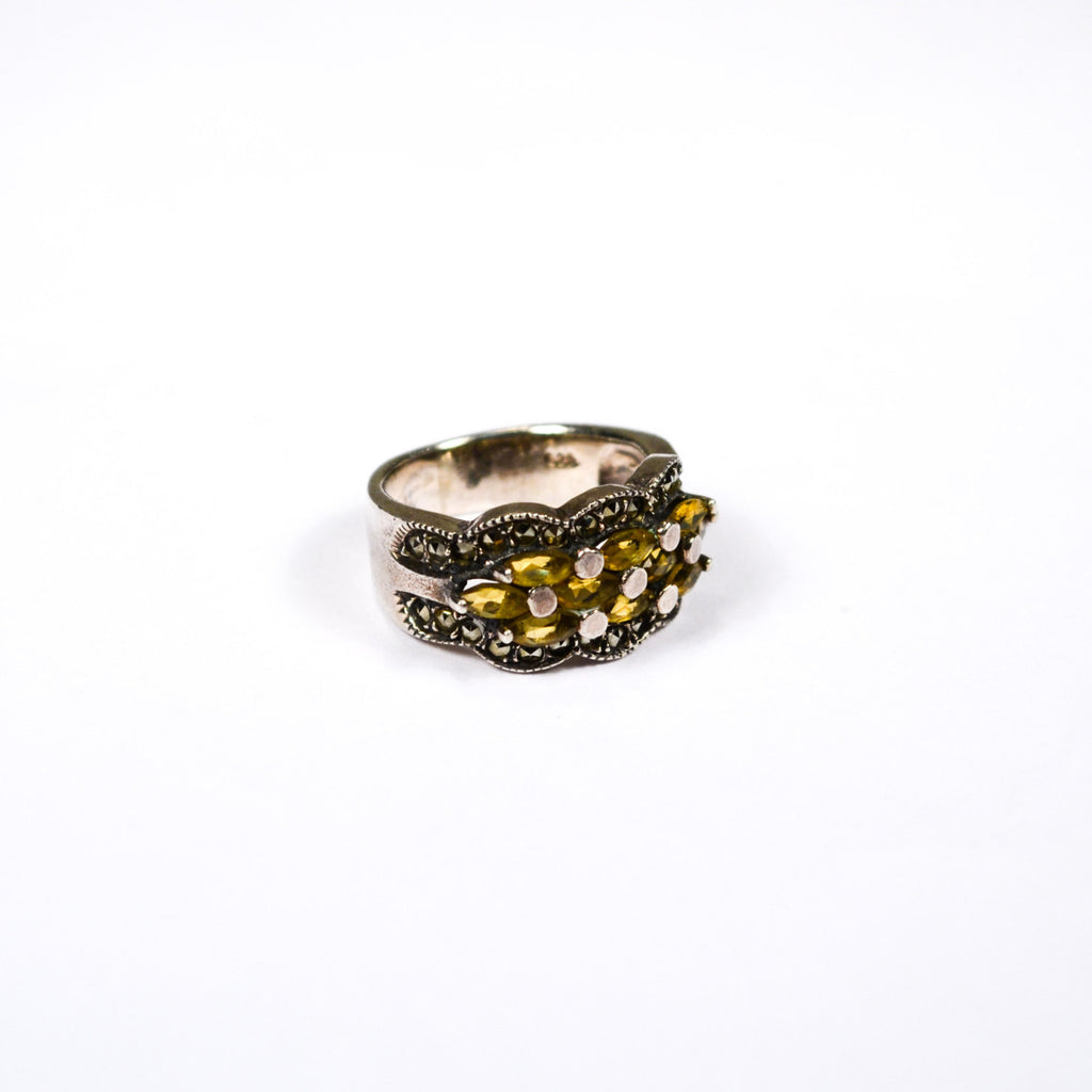 Art Deco Inspired Yellow Citrine and Marcasite Ring set in Sterling Silver - Vintage Meet Modern  - 1