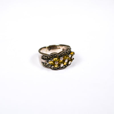 Art Deco Inspired Yellow Citrine and Marcasite Ring set in Sterling Silver by Sterling Silver - Vintage Meet Modern Vintage Jewelry - Chicago, Illinois - #oldhollywoodglamour #vintagemeetmodern #designervintage #jewelrybox #antiquejewelry #vintagejewelry