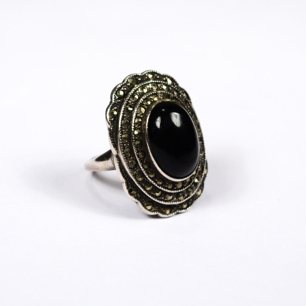 Art Deco Onyx and Marcasite Ring set in Sterling Silver - Vintage Meet Modern  - 1