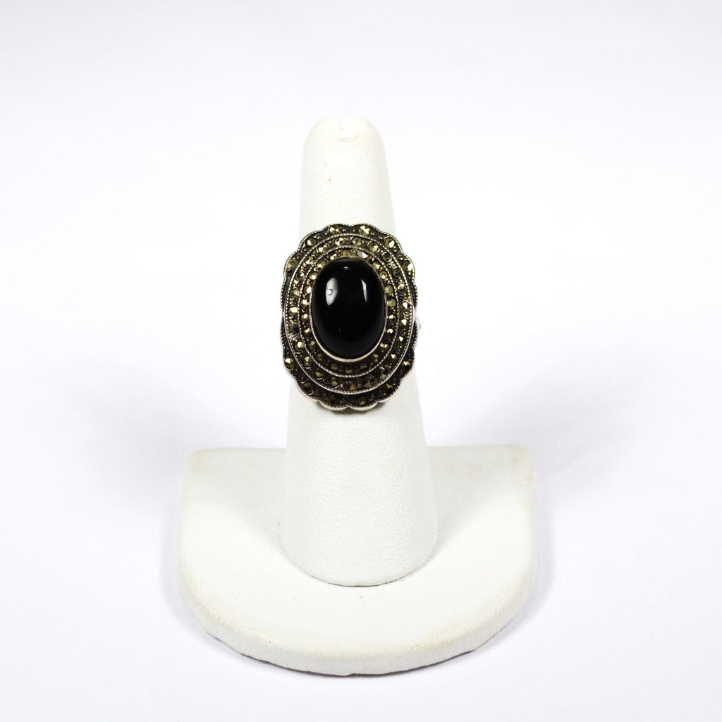 Art Deco Onyx and Marcasite Ring set in Sterling Silver - Vintage Meet Modern  - 2