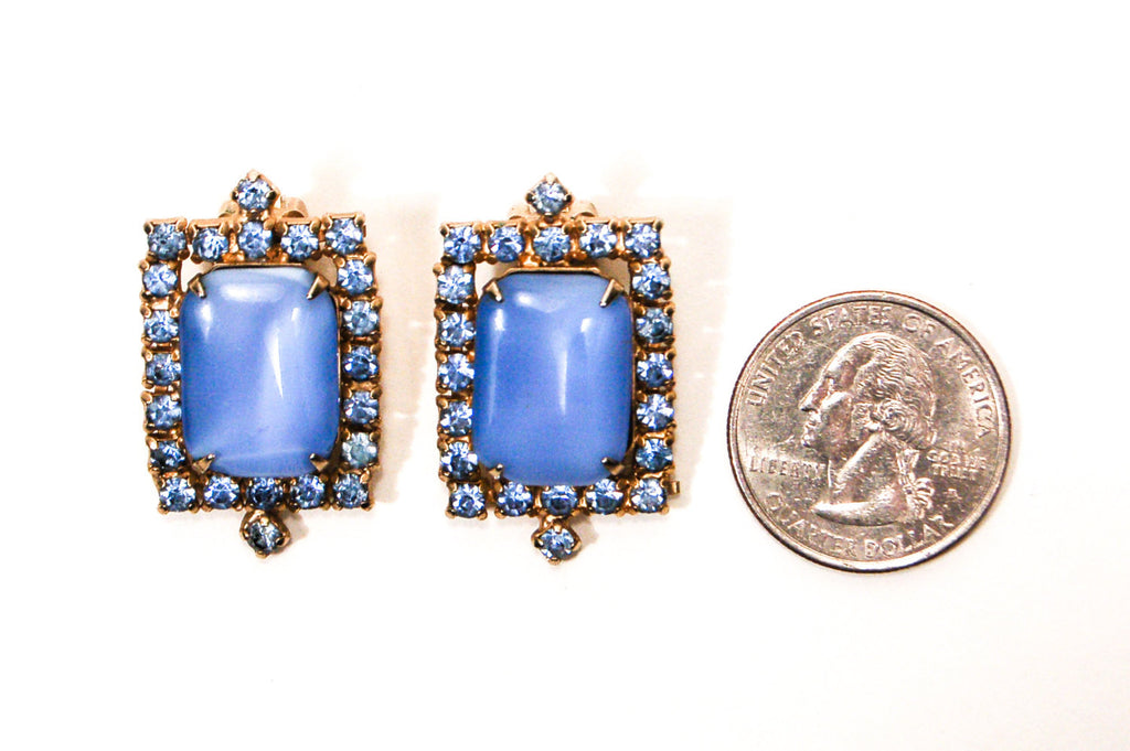 Blue Chalcedony Rhinestone Earrings - Vintage Meet Modern  - 2