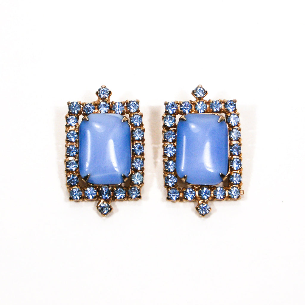 Blue Chalcedony Rhinestone Earrings - Vintage Meet Modern  - 1