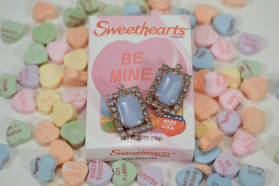 Blue Chalcedony Rhinestone Earrings by Unsigned Beauty - Vintage Meet Modern Vintage Jewelry - Chicago, Illinois - #oldhollywoodglamour #vintagemeetmodern #designervintage #jewelrybox #antiquejewelry #vintagejewelry
