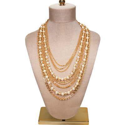 Multi Strand Pearl and Gold Chain Necklace by Crown Trifari by Crown Trifari - Vintage Meet Modern Vintage Jewelry - Chicago, Illinois - #oldhollywoodglamour #vintagemeetmodern #designervintage #jewelrybox #antiquejewelry #vintagejewelry