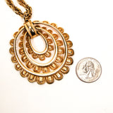 Gold Scalloped Medallion Statement Necklace - Vintage Meet Modern  - 4