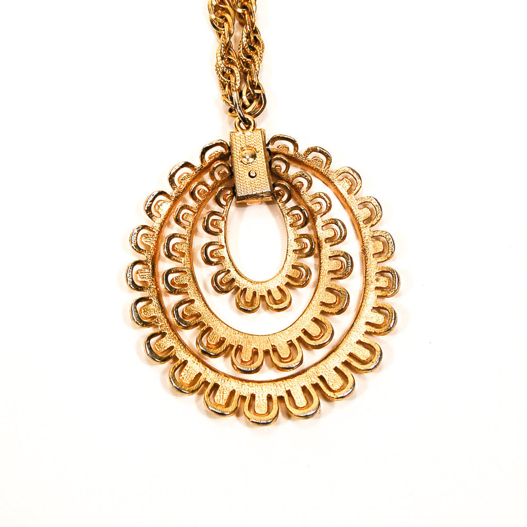 Gold Scalloped Medallion Statement Necklace - Vintage Meet Modern  - 5