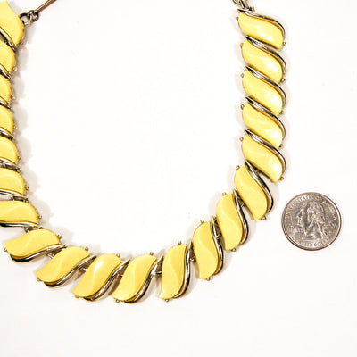 Yellow Wave Link Thermoset Necklace by Unsigned Beauty - Vintage Meet Modern - Chicago, Illinois