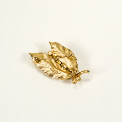 Lisner Gold and Pearl Leaf Brooch by Lisner - Vintage Meet Modern - Chicago, Illinois