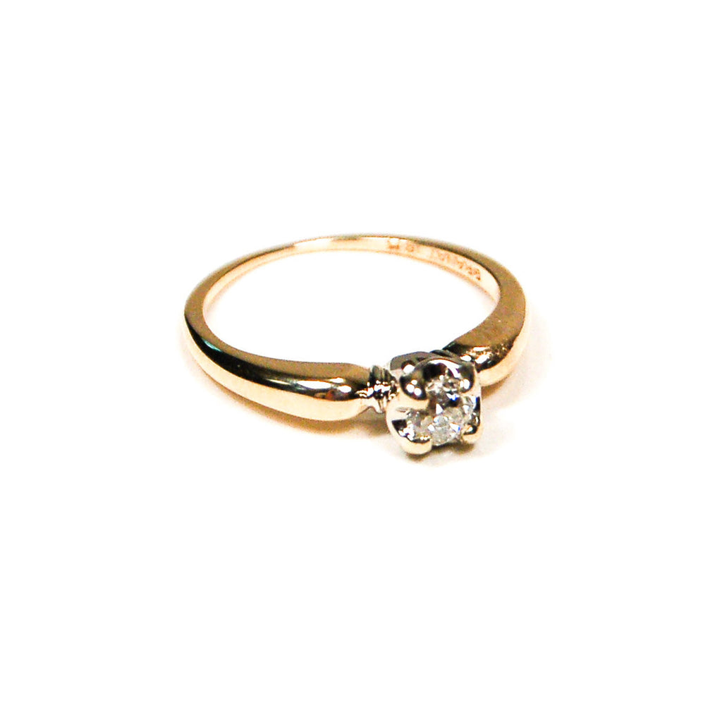 Diamond Engagement Ring set in 14kt Yellow Gold by Granat Brothers - Vintage Meet Modern  - 1