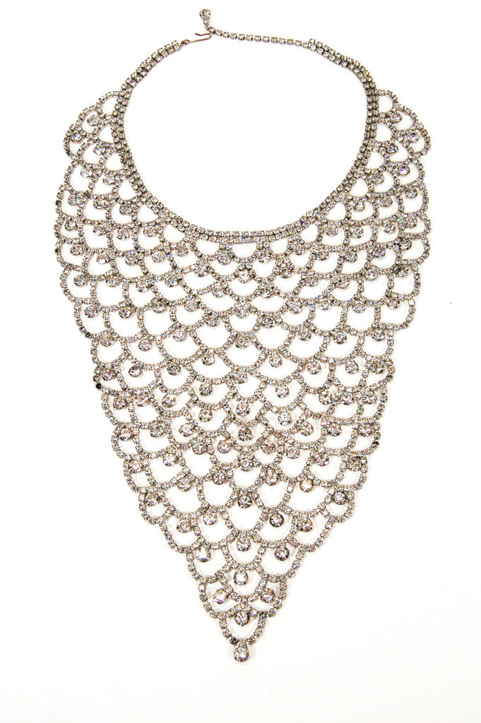 Sparkling Rhinestone Bib Statement Necklace, Necklace - Vintage Meet Modern