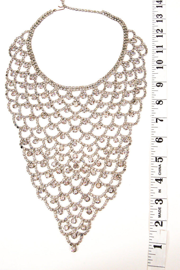 Sparkling Rhinestone Bib Statement Necklace - Vintage Meet Modern  - 3